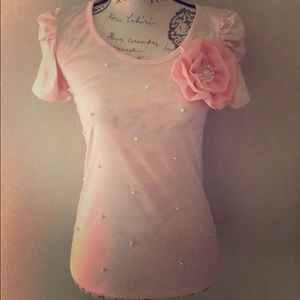 Pink and Pearl Short Sleeved Top